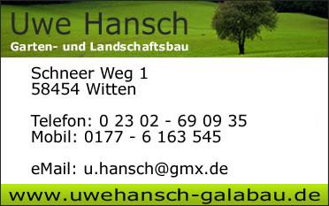 uwe hansch garten- u.landschaftsbau | 58454 witten | visitenkarte, Garten und bauen